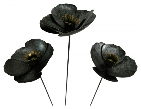 Metal Poppy on 1m Stick - Set of 3 - Silver