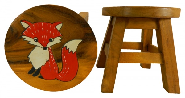 Childrens Wooden Stool - Fox
