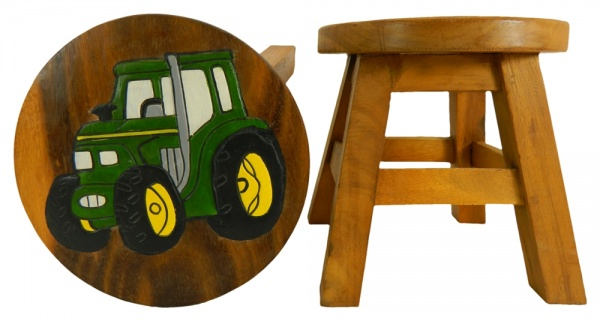 Childrens Wooden Stool - Green Tractor