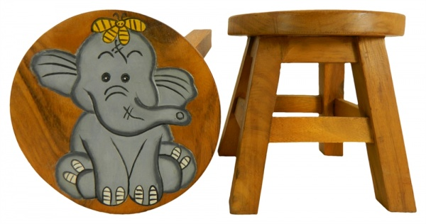 Childrens Wooden Stool - Grey Elephant