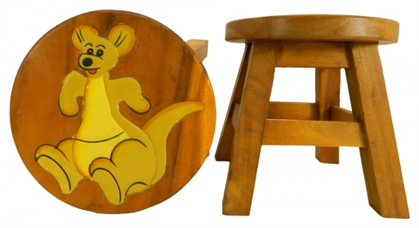 Childrens Wooden Stool - Kangaroo