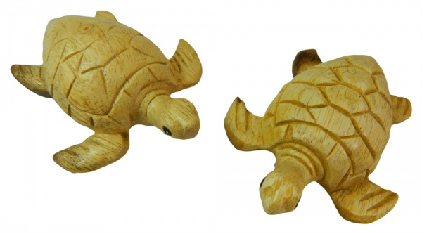 Wooden Pair Of Animals - Pair of Natural Turtles