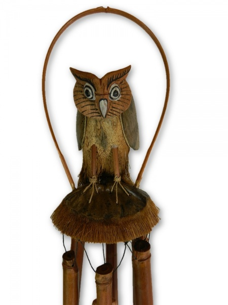 Hand Carved Bamboo Windchime - Owl Design