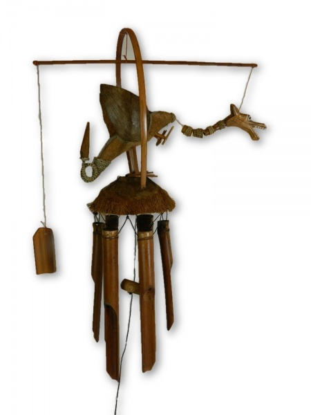 Hand Carved Bamboo Windchime - Dragon Design