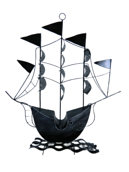 Metal Pirate Ship Decoration - Silver