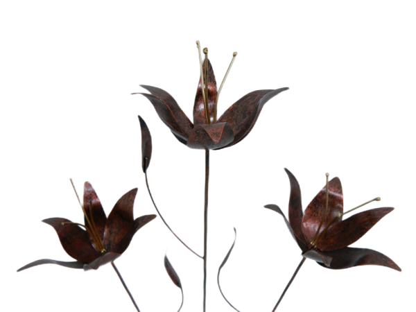 Metal lily on 1m Stick - Set of 3 - Bronze