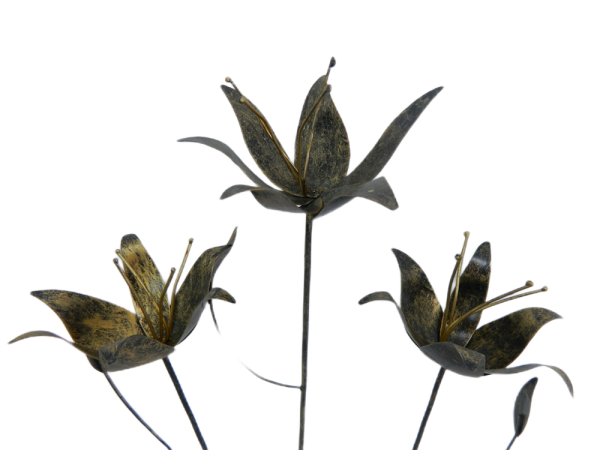 Metal lily on 1m Stick - Set of 3 - Gold