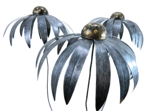 XL Metal Echinacea on 1m Stick - Set of 3 -Silver