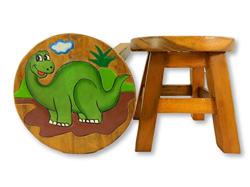 Childrens Wooden Stool - Green Diplodocus