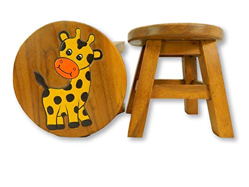 Childrens Wooden Stool - Baby Giraffe