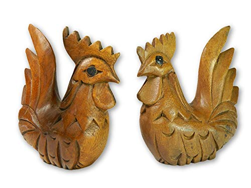 Wooden Pair Of Animals - Pair of Cockerels