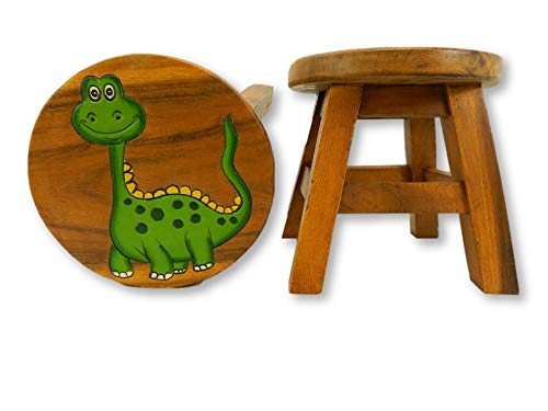 Childrens Wooden Stool - Comic Dinosaur