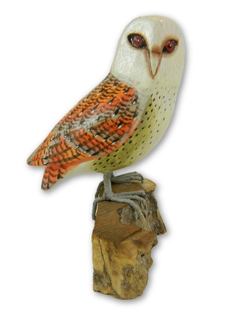 Wooden Painted Bird - Barn Owl