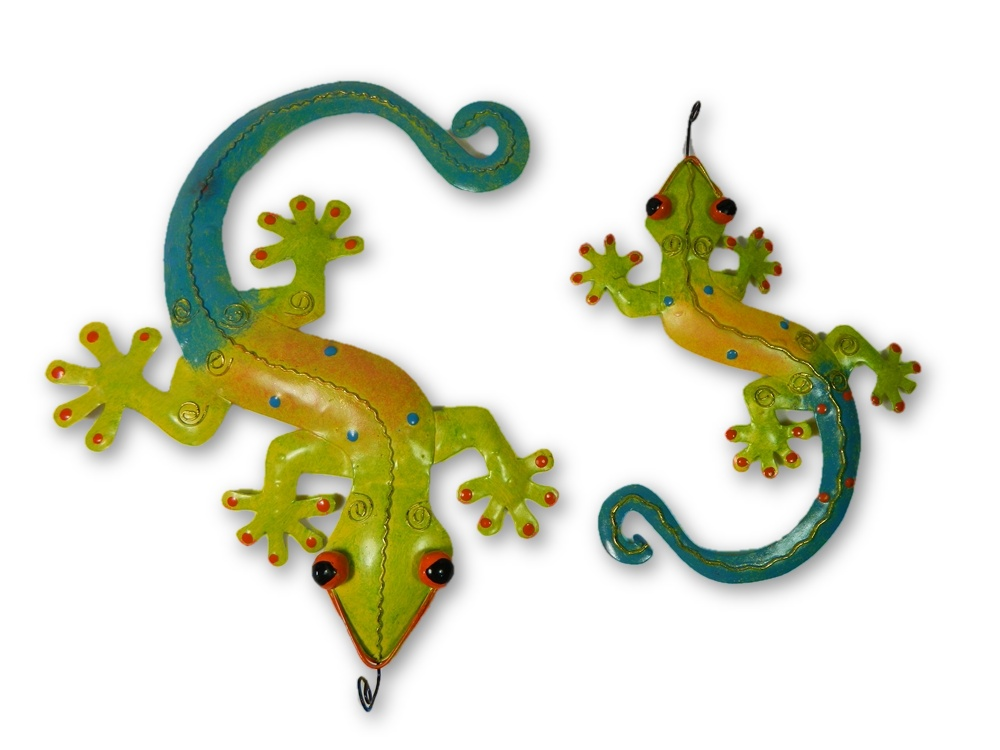 Metal Wall Art Gecko - Green/Blue - Set of 2