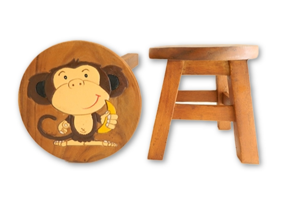 Childrens Wooden Stool - Monkey