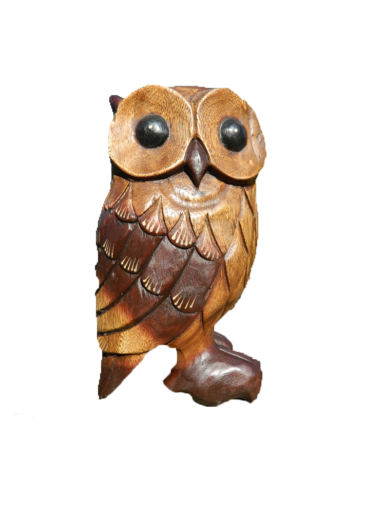 Wooden Owl Carving -Large Standing Owl
