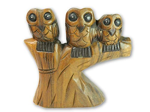 Wooden Owl Carving - Three Owls On High Perch