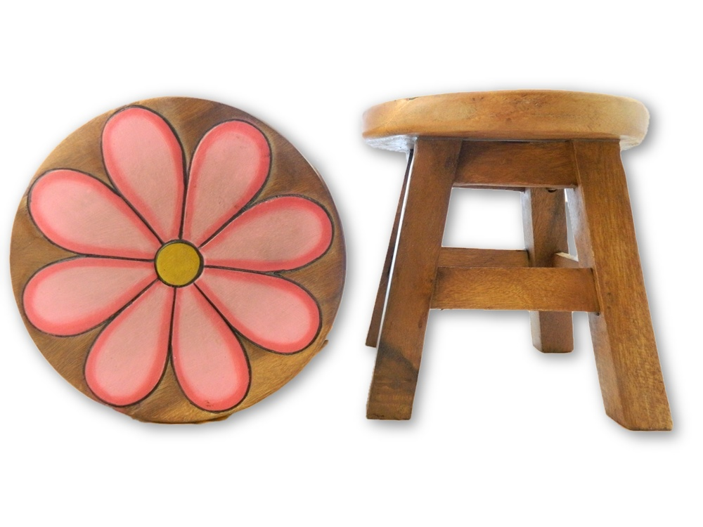 Childrens Wooden Stool - Pink Daisy