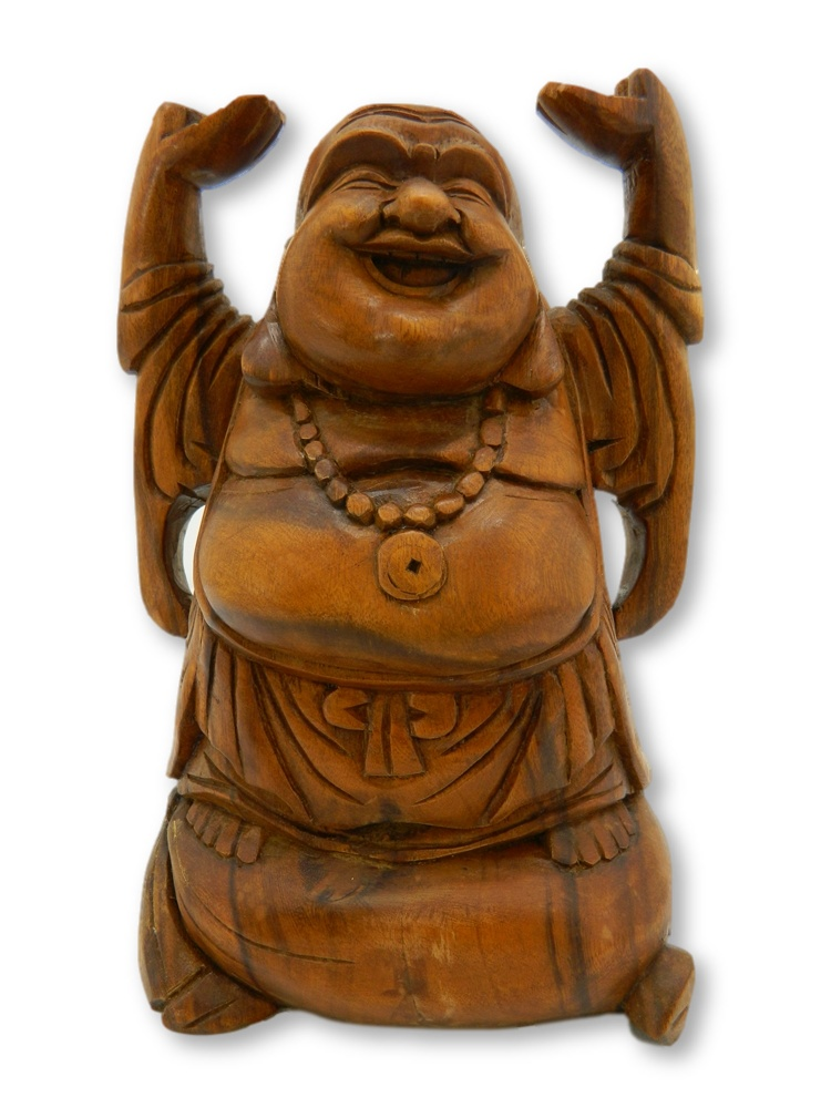 Wooden Buddha Carving - 30cm Hands Up Stained