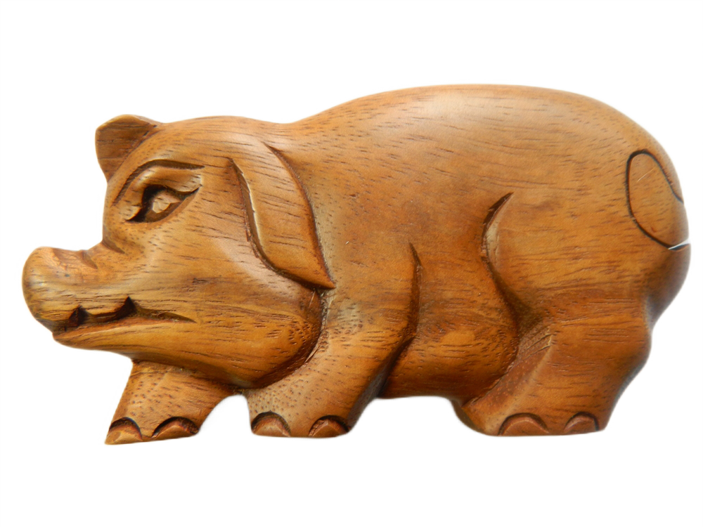 Wooden Puzzle Box - Standing Pig