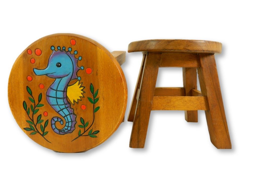 Childrens Wooden Stool - Seahorse