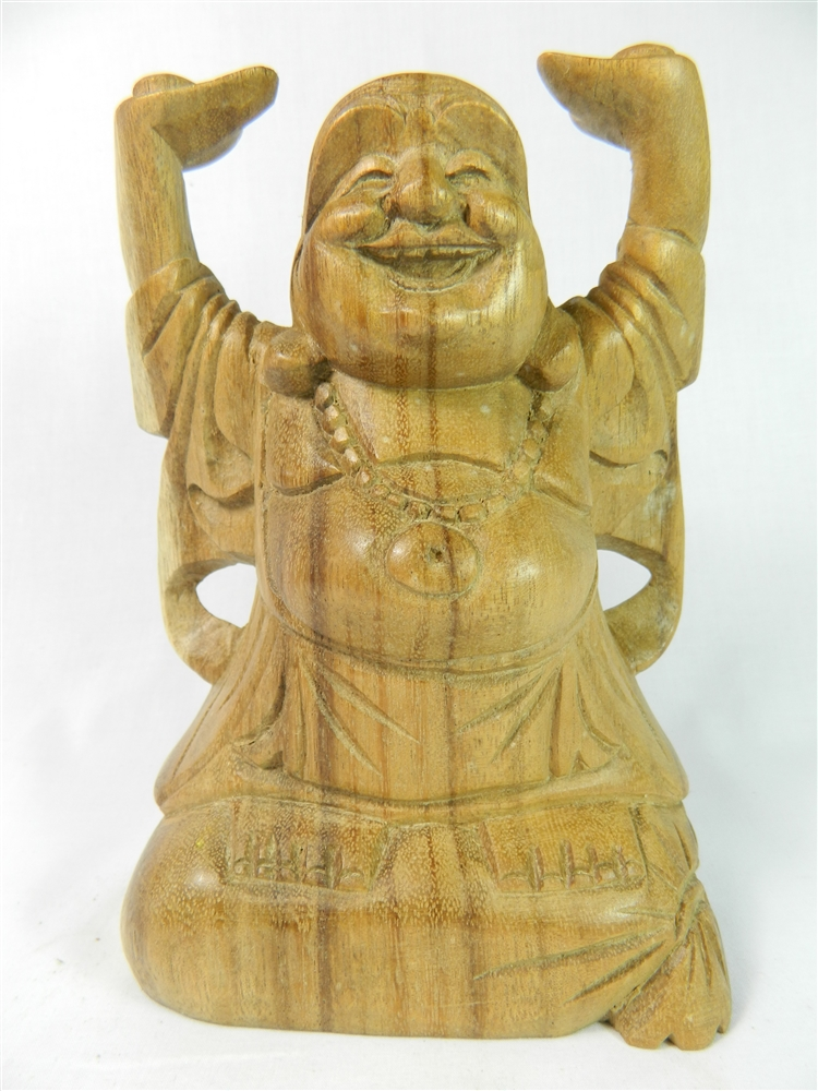Wooden Buddha Carving - 20cm Hands Up