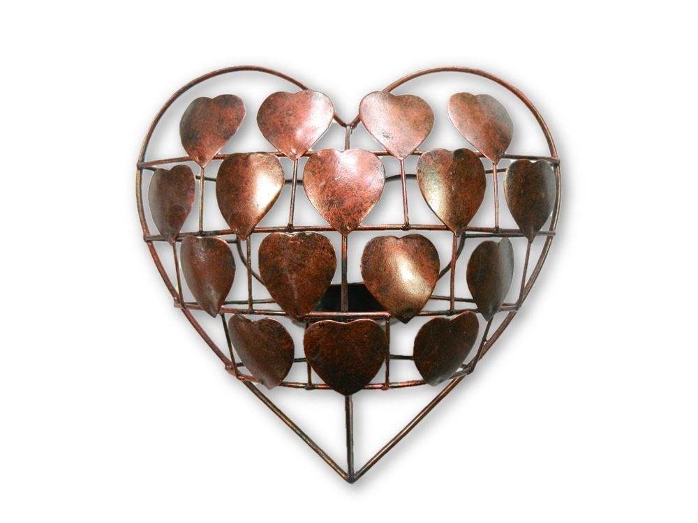 Metal Heart Tea- Light Holder/ Sconce- Bronze