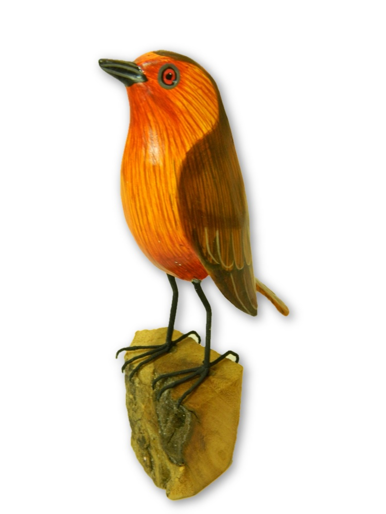 Wooden Painted Bird -  Robin