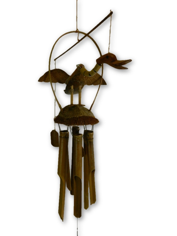 Hand Carved Bamboo Windchime - Duck Design