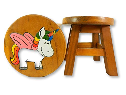 Childrens Wooden Stool - Baby Unicorn