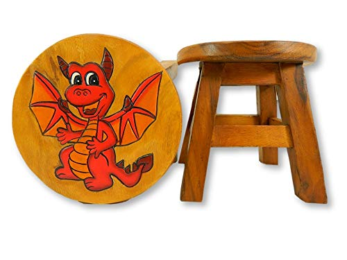 Childrens Wooden Stool - Red Dragon