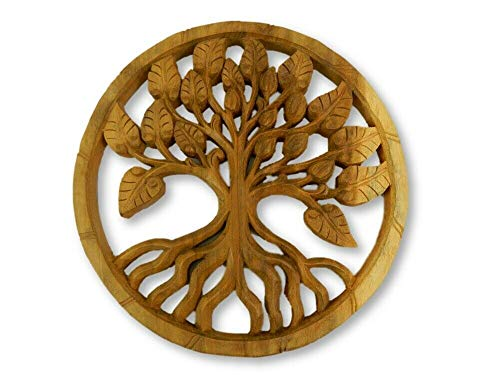 Wooden Tree Of Life Plaque -  Leaf